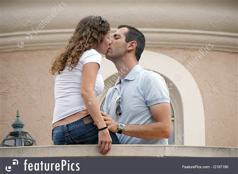 people couple kissing stock image   featurepics