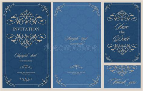 Wedding Invitation Vintage Card With Floral And Antique