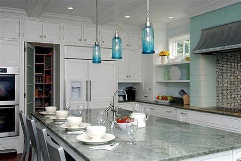 Turquoise light filled kitchen interior design