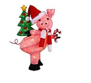 amazon com cute christmas lighted pig holding a holiday tree christmas yard decoration home
