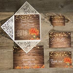 ten beautiful fall wedding invitations to match your weddi With laser cut wedding invitations chicago