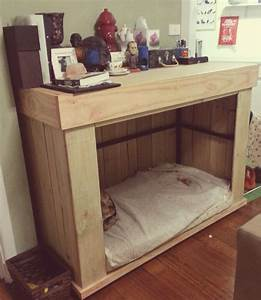dog crate i had made that doubles as a desk storage space With desk dog crate