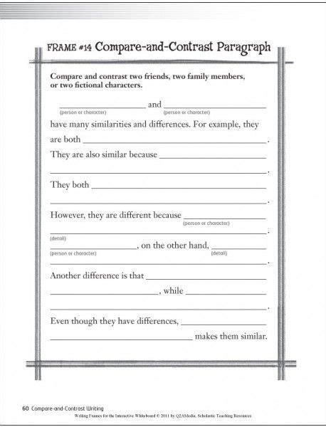 compare and contrast essay template grade compare and contrast writing template search print now