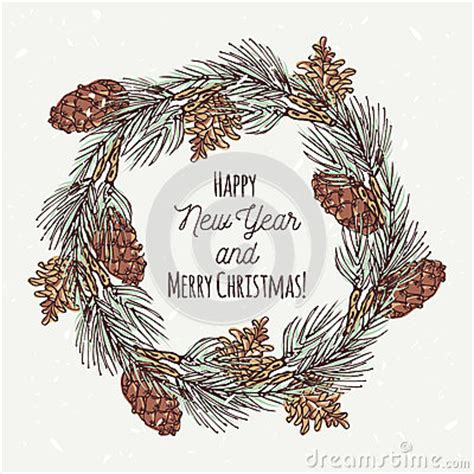 The Chew Pine Cone Animal Templates by Christmas Greeting Card With Hand Drawn Wreath And Stock