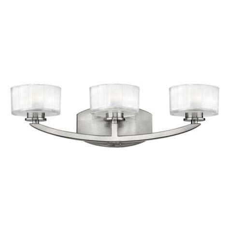 hinkley meridian brushed nickel three light bath fixture