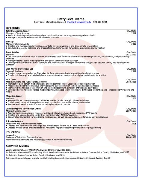 Entry Level Marketing Resume Sles by Entry Level Marketing Resume Exles 28 Images Marketing