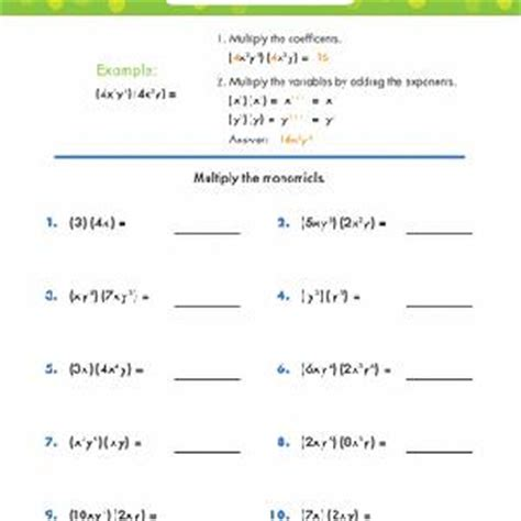 Multiplying Monomials Worksheets Educationcom