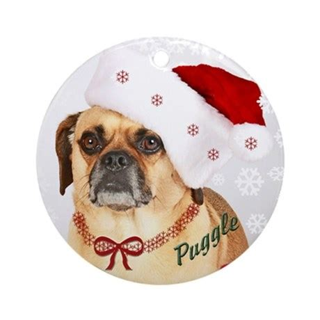 a puggle christmas ornament round by mrpuggle