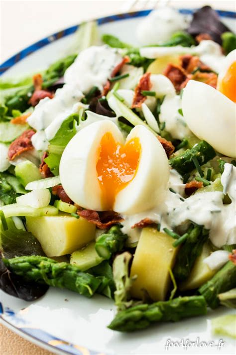 la cuisine d amandine salade aux oeufs mollets pommes de terre concombre et asperges vertes food for