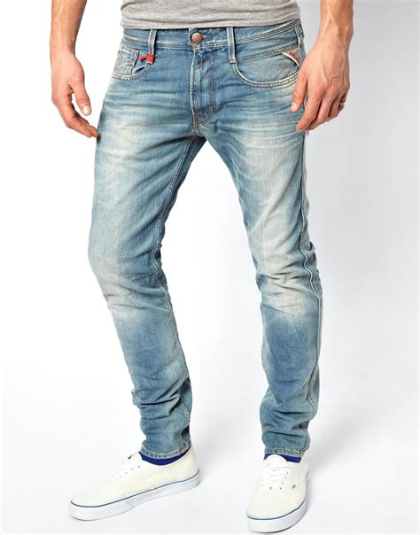 lyst replay anbass slim fit sunfaded wash jeans  blue