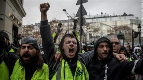 paris police  tear gas  yellow vest protesters