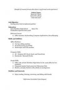 no work experience resume sle resume template for no work experience sles of resumes