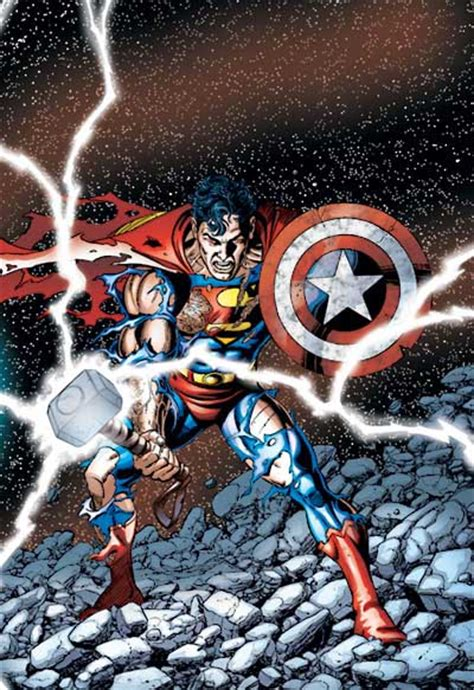 superman with thor s hammer and cap s shield the world 39 s