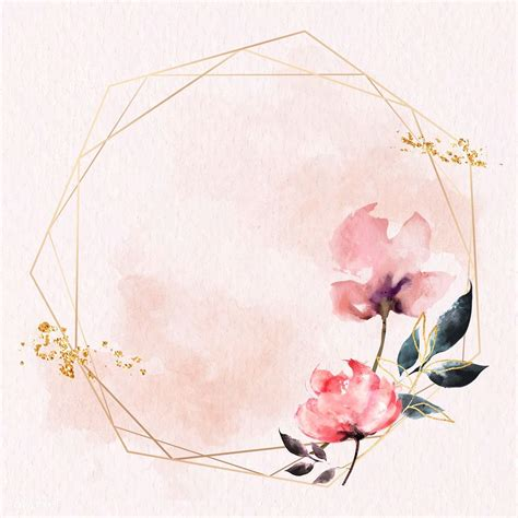 Download premium vector of Gold hexagon frame on pink