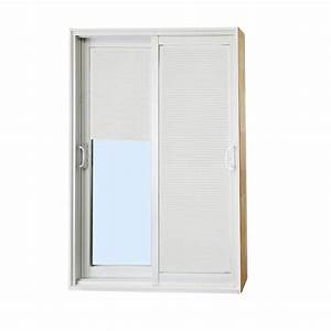 Stanley doors 60 in x 80 in double sliding patio door for Home depot patio doors with blinds