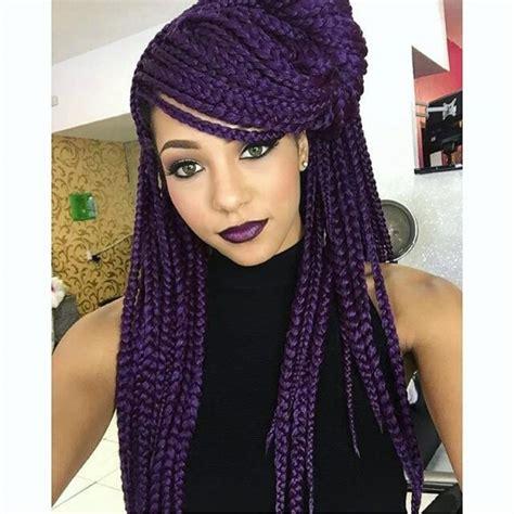 Deep Purple Braids Color Box Braids Hairstyles