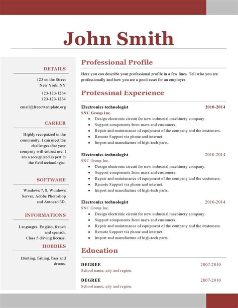 Free Resume Templates For Pages by One Page Resume Template Free Paru Resume