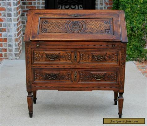 Antique French Louis Xv Style Oak Fall Front Writing Desk
