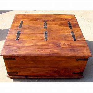Large rustic square storage chest trunk wood blanket box for Oversized trunk coffee table