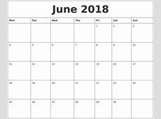 June 2018 Free Printable Calendar Templates