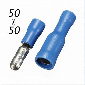 100x Male  U0026 Female Blue Insulated Bullet Connector Terminals 16
