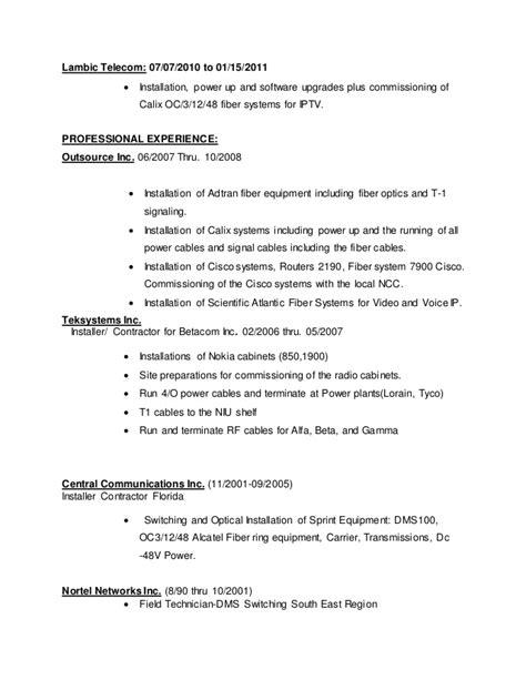 Telecom Field Technician Resume by Telecom Field Technician Resume