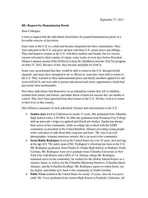 Dream 30 Letter Requesting Humanitarian Parole | Deferred