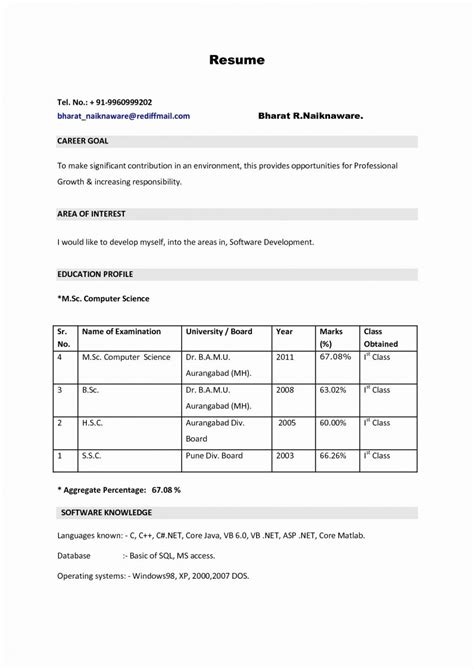 Resume Format Exles For by Resume Images For Freshers Letter Exles Format Hd