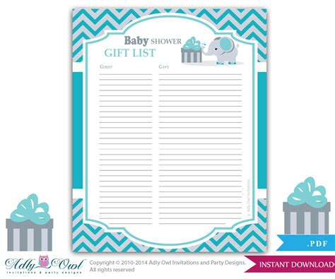 buying gifts tracker sheet boy elephant guest gift list guest sign in sheet card for