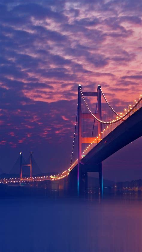 bridge night lights purple android wallpaper free download