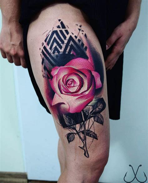 pink rose black pattern  girls thigh  tattoo design ideas
