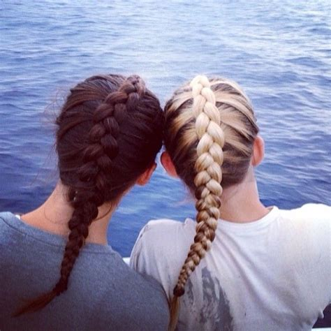 brunette  blonde fishtail braids pictures