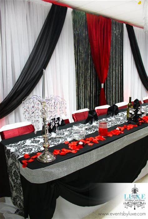 red and black table ls red black and white wedding backdrop and head table cc