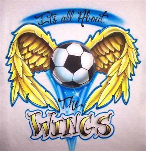 custom airbrushed soccer ball wings personalized shirt