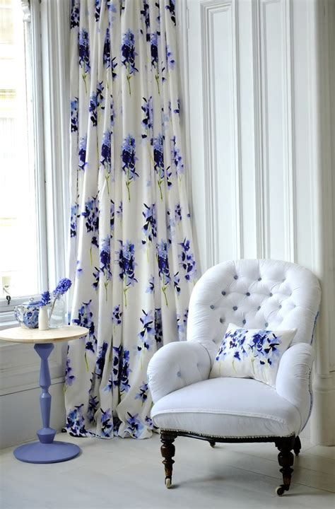 blue and white curtains white and blue floral curtains home design ideas