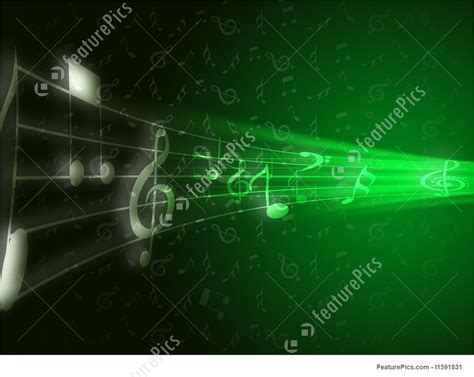 musical instruments green musical note background stock