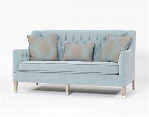 Traditional sofa tufted blue three person couch for Sectional sofas vs regular sofas