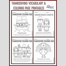 Thanksgiving Vocabulary And Coloring Page Printables  Juggling Act Mama
