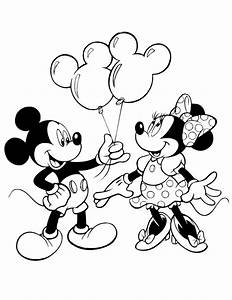 Mickey Giving Minnie Mouse Balloons Coloring Page | H & M ...