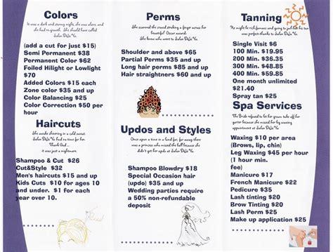 Salon Price Menu Prices