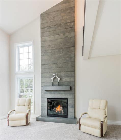 modern shelf board formed concrete fireplace brantford ontario