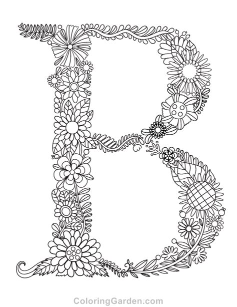 floral letter  adult coloring page