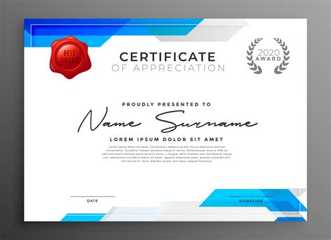 abstract blue certificate  appreciation template