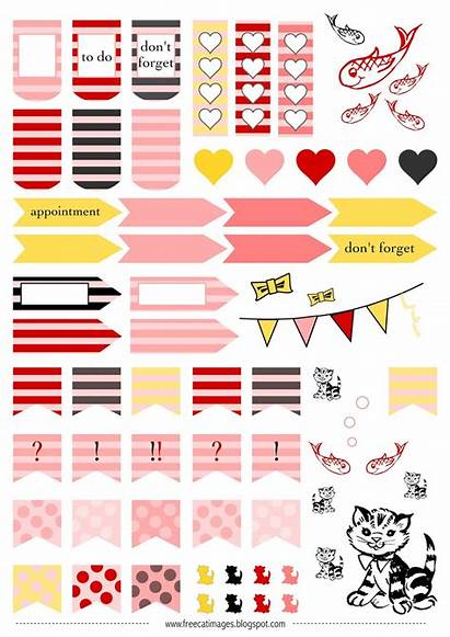 Stickers Planner Printable Sticker Cats Cat Printables