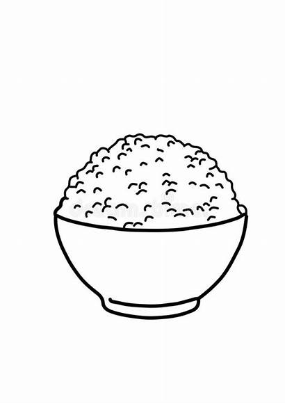 Rice Drawing Drawn Coloring Lineart Outline Line