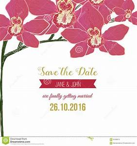 Wedding Save The Date Card With Red Orchid Flowers Stock ...