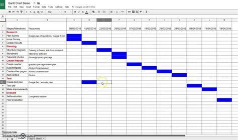 google sheet gantt chart demo  template