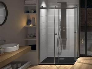 douche kinedo With porte de douche coulissante avec panneaux muraux pour renovation salle de bain