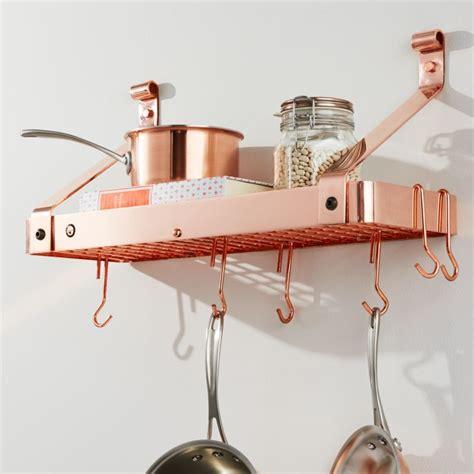 enclume copper bookshelf pot rack reviews crate  barrel