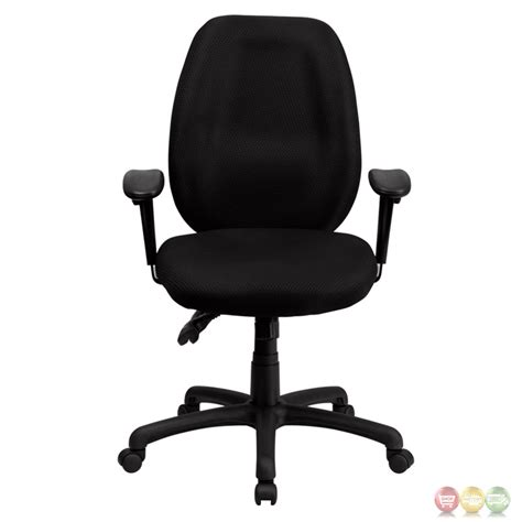 high back black fabric executive swivel office chair w